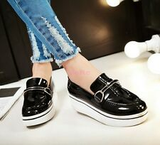 Fashion Faux Patent Leather Flat Slip-on Womens Loafers Pump Platform Shoes e-33