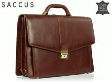 GENUINE LEATHER * MEN'S BRIEFCASE * BUSINESS BAG FOR MEN * Brown