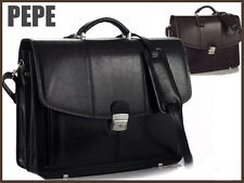 MENS BRIEFCASE LEATHER * ATTACHE * BUSINESS BAG * LAPTOP * WITH SHOULDER STRAP