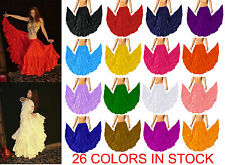 Women 12 Yards Ruffle Pleated 4 Tiered Belly Dance Full Circle Skirts 25 Colors