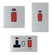 Screwless Satin Chrome 45A Cooker Switch / Socket - 45 Amp Cooker Control Unit