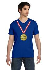 Best Papa Gold Medal - Father's Day Award for Number 1 Dad V-Neck T-Shirt Gift