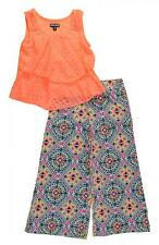 Pogo Club Girls Lace Tank 2pc Printed Flare Pant Set Size 4 5/6 6X $40