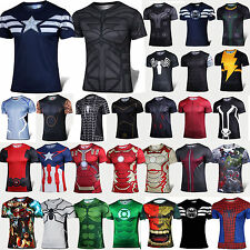 Men Casual Sports T-Shirt Marvel Superhero Costume Tops Jersey Cycling Tee-Shirt