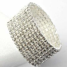 Shiny White Gold Filled crystal Crystal Tennis Bracelet,1 to 10 Row,Adjustable