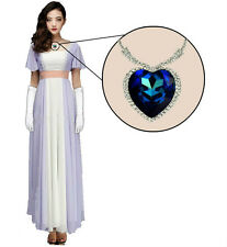 Ladies Rose 90's Costume Titanic Dress Gloves Necklace Fancy Outfit Heart Women