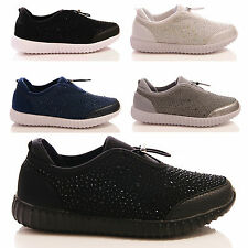 LADIES WOMENS TRAINERS CASUAL FITNESS DIAMANTE FLAT TOGGLE PUMPS SHOES SIZE