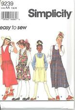Simplicity 9239 Girls' Jumper 7, 8, 10  Sewing Pattern