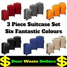 3 Piece Hard Shell Travel Luggage Suitcase Set w TSA Lock VARIOUS COLOURS