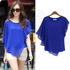 New Sexy Women Irregular Chiffon Tops Loose Blouse Fashion T-Shirt Short Sleeve