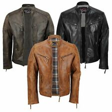 Men's New Black Timber Tan Real Leather Vintage Biker Style Zipped Retro Jacket