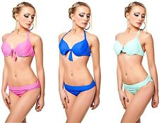 New Bikini Push UP Ladies bra Set Straps BadeSet Top Halter neck Swimwear
