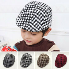Classic Kids Boys Houndstooth Beret Cap Casquette Flat Peaked Hat Baseball Hat
