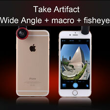3in1 Fisheye Wide Angle + Macro Camera Clip on Lens For iPhone 6S Samsung/LG