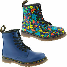 GIRLS INFANTS DR MARTENS BROOKLEE WANDERFLORA WILD BLUE 8 EYELET LEATHER BOOTS