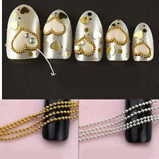 New Chic 3m/5m Metal Beads Line Chain Acrylic Nail Art Tips DIY Decoration