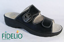 Fidelio Ladies Mules Mules Slippers black leather Leather footbed NEW