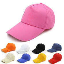 Plain Baseball peaked Caps Adjustable Solid Color Casual Sport Hat Curved Visor