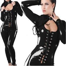 SEXY BLACK LADIES CAT FETISH BONDAGE OUTFIT WET LOOK CATSUIT 8-10  LACE #481