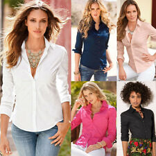 Fashion Womens Lapel Buttons Down Slim Casual Career Blouse Long Sleeve T-Shirts
