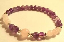 925 sterling silver gemstone bracelet rose quartz and amethyst elasticated