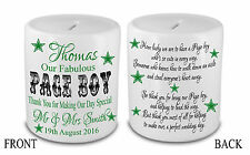 Personalised Ceramic Money Box Thank you Wedding Favour Pageboy Present Gift