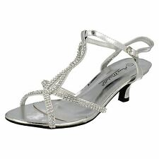 LADIES ANNE MICHELLE SILIVER DIAMANTE SANDALS WITH ANKLE STRAP L3417
