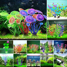 Vivid Artificial Plastic Grass Flower Aquarium Plants Fish Tank Ornaments Decor