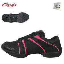 Black and Hot Pink Capezio bolt DS30 split sole jazz shoes / sneakers -all sizes