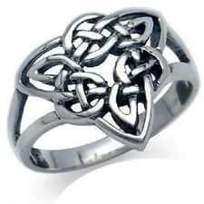 Large 925 Sterling Silver Irish Celtic Trinity Triquetra Knotwork Ring