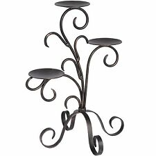 Candle Holder Black  Wrought Iron, Floral Design holds three candles 37cm