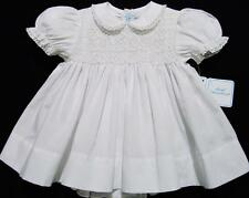 HAND~EMBROIDERED NB/3M WHITE OR PINK SMOCKED 2PC DRESS W/FRENCH LACE~reborn doll