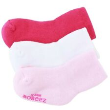 Robeez Mini Infant Girl's 3-Pairs Pink Terry Bootie Skid-Proof Socks