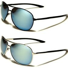 NEW SUNGLASSES BLACK DESIGNER MENS LADIES PILOT AVIATOR BLUE MIRRORED SPORTS
