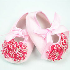 Newborn Baby Girls Soft Shoes Bowknot Infant Toddlers Anti-slip  Red Pink Colors