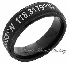 Tungsten Ring Latitude and Longitude Coordinate Wedding Band 8mm Two Tone Black