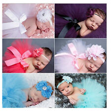 Girl Newborn Baby Flower Headband + Tutu Skirt Photo Photography Costume Prop