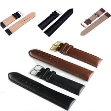Unisex Genuine Leather Black Brown Watch Strap Band Wristwatch Bands Wristlet