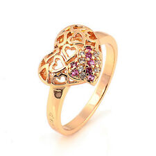 Hollow Love Heart 18K Yellow Gold Plated Round CZ New Promise Love Band Ring