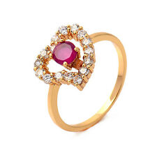 Pink Heart Love 18K Yellow Gold Plated Garnet Round CZ Promise Love Band Ring