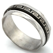 Unique Indian Style Band Ring Black/White Stainless Steel 7 8 9 10 12 13
