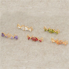 Bowknot 18K Yellow Gold Filled Rainbow crystal Crystal Womens Stud Earrings