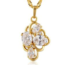 Lovely 9K Gold Filled CZ 3 Colour Choice Womens Pendant Necklace