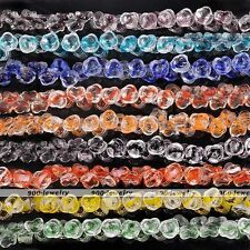 14mm Clear Transparent Crystal Glass Rose Flower Loose Beads Findings Charms New