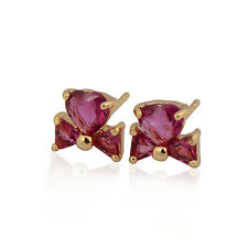 Bowknot 18K Yellow Gold Plated Colorful Heart CZ Stud Earrings Free Shipping