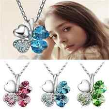 Romantic Happiness Clover Four Leaf Women Crystal Pendant Chain Necklace Jewelry