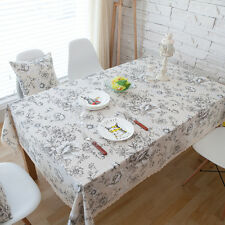 Pretty White Peony Flower Dinning Coffee Table Cotton Linen Cloth Covering L