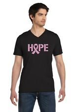 Hope Breast Cancer Awareness Pink Ribbon V-Neck T-Shirt Support