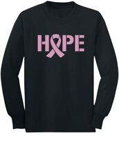 Hope Breast Cancer Awareness Pink Ribbon Youth Kids Long Sleeve T-Shirt Support