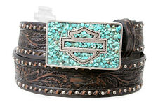 HARLEY-DAVIDSON EMBOSSED DESIGN WITH TURQUOISE STONES IN BUCKLE LEATHER BELT